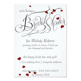 Ruby Heart Confetti Bridal Shower Card