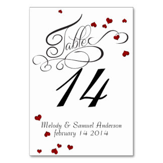 Ruby Heart Confetti Table Card