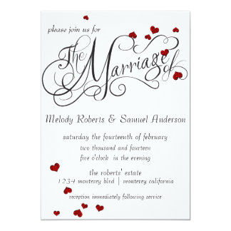 Ruby Heart Confetti Wedding Invitation