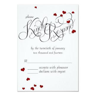Ruby Heart Confetti Wedding RSVP Card