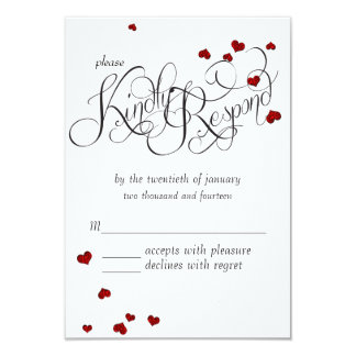 Ruby Heart Confetti Wedding RSVP 9 Cm X 13 Cm Invitation Card