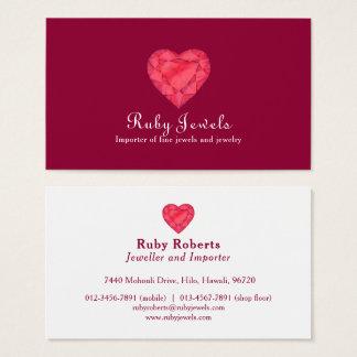 Ruby heart jewel jewelry business card