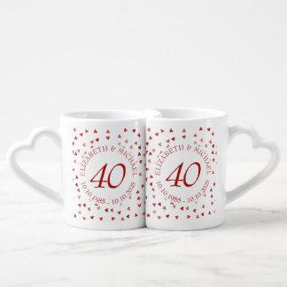 Ruby Hearts Confetti 40th Anniversary Coffee Mug Set