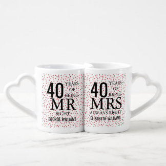 Ruby Hearts Confetti 40th Anniversary Mr Mrs Right Coffee Mug Set