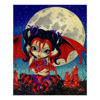 Ruby Moon ART PRINT Ruby Dragonling Dragon Fairy