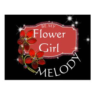 Ruby Night Bling Flower Girl Request Postcard