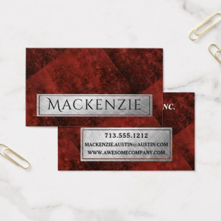 Ruby Office | Custom Garnet Crimson Red Geometric Business Card