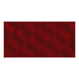 Ruby Red and Black Pattern Custom Photo Card
