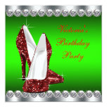 Ruby Red and Green Christmas Birthday Party Custom Invites