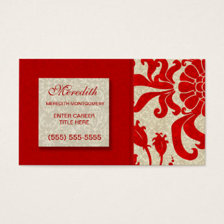 Ruby Red and Taupe Damask for the Businesswoman Business Card