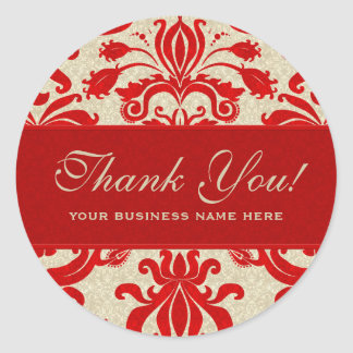 Ruby Red and Taupe Damask | Perfect for Business Round Sticker