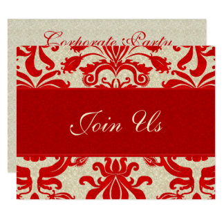 Ruby Red and Taupe Damask Professional Business Card