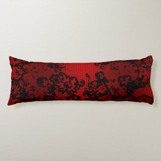 Ruby red black stylish floral vibrant elegant body cushion