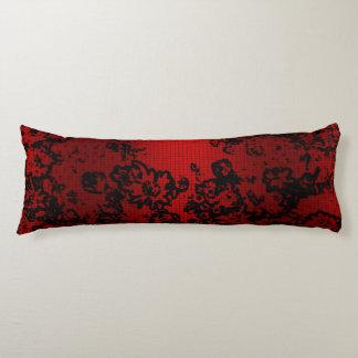 Ruby red black stylish floral vibrant elegant body cushion