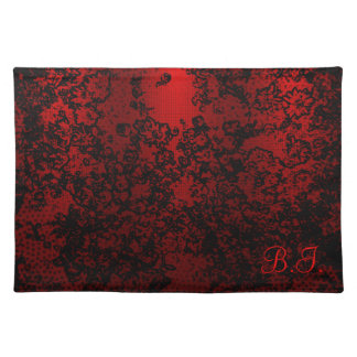 Ruby red black stylish floral vibrant elegant placemats