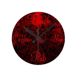 Ruby red black stylish floral vibrant elegant wall clocks