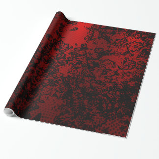 Ruby red black stylish floral vibrant elegant wrapping paper
