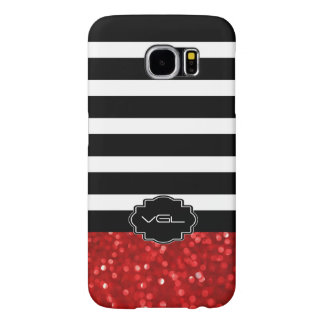 Ruby Red Bokeh Glitter With Black & White Stripes