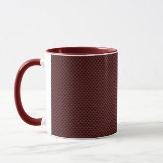 Ruby Red Carbon Fiber Style Print Decor Mug