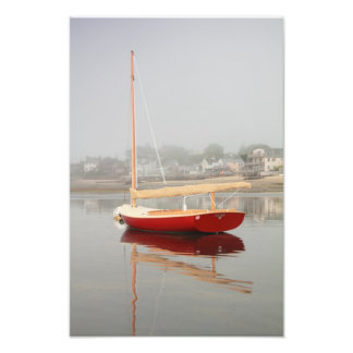Ruby Red Catboat in Provincetown Harbor Art Photo