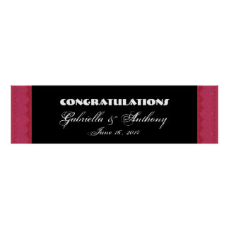 Ruby Red Damask  Lace Wedding or Engagement Banner Poster