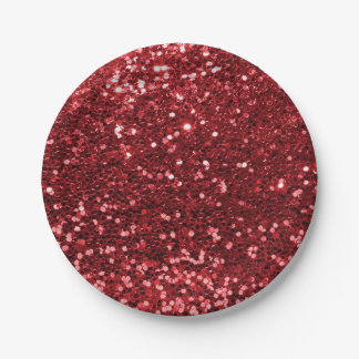 Ruby Red Faux Glitter Sparkle Print Paper Plate