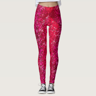 Ruby Red Glitter Sparkly Bling Fashion Yoga Pants
