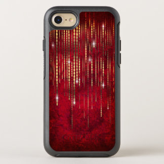 Ruby Red Gold Bead Strand Curtain Shimmer Romantic OtterBox Symmetry iPhone 8/7 Case