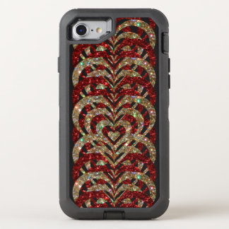 Ruby Red & Gold Glitter Spiral Vortex Hearts - OtterBox Defender iPhone 8/7 Case