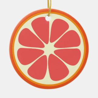 Ruby Red Grapefruit Juicy Sweet Citrus Fruit Slice Ceramic Ornament