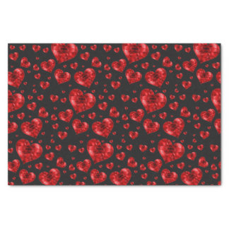 Ruby Red Heart Gems Tissue Paper