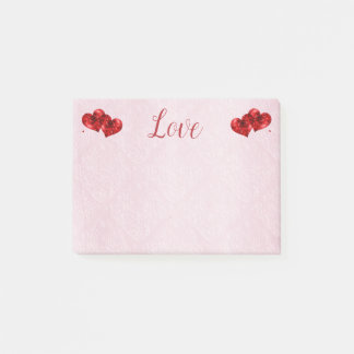 Ruby Red Hearts and Love Post-It Notes