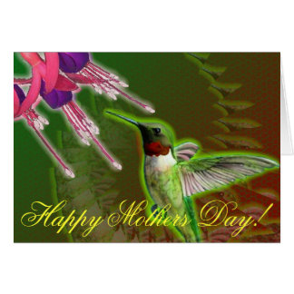 Ruby Red Hummingbird and Fuchsia Mothers Day Card