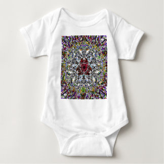 Ruby Red Jewel At The Heart Of A Mandala Baby Bodysuit