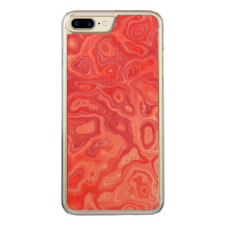 Ruby Red Marble Molten Lava Pattern Carved iPhone 7 Plus Case