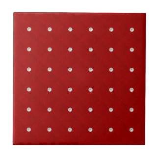 Ruby Red Pearl Stud Quilted Tiles