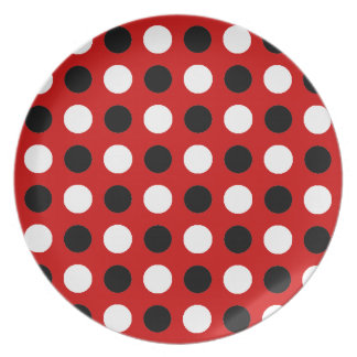 Ruby Red Polka Dots Dinner Plate