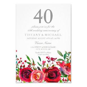 40th anniversary wedding invitations zazzle ruby red rose 40th wedding anniversary invitation stopboris Choice Image