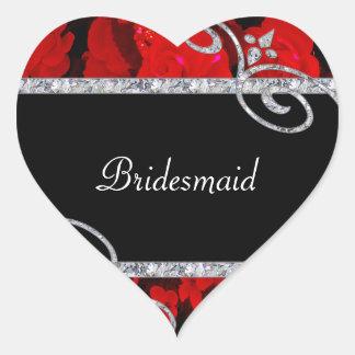 Ruby Red Roses & Diamond Swirls Wedding Heart Sticker