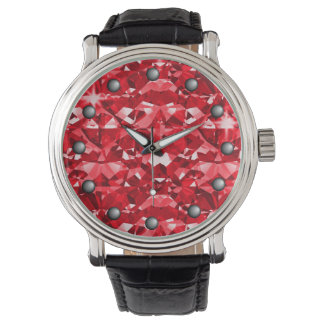 Ruby Red Sparkle Diamonds Watches
