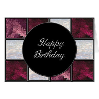 Ruby Red Stained Glass Birthday Note Card