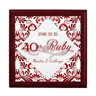 Ruby Red Swirls 40th Wedding Annivesary Custom Gift Box