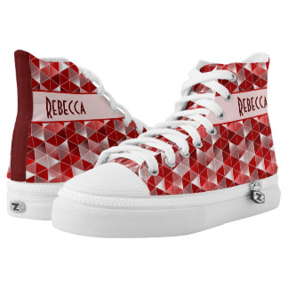 Ruby Red Triangles Pattern Customisable Printed Shoes