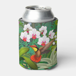 Ruby Red Tropical Hummingbird Can Cooler