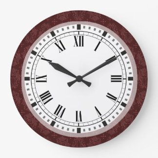 Ruby Red Victorian Delight Damask Large Clock