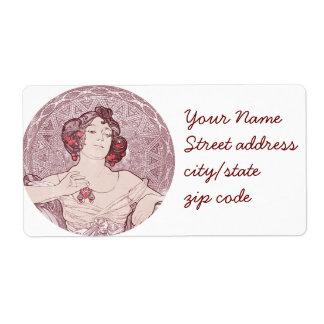 Ruby Red Vintage Art Nouveau Shipping Label