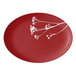 Ruby Red White Tree Platter Porcelain Serving Platter