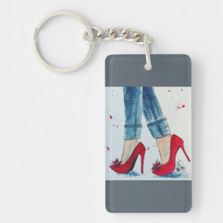 Ruby Reds & Denim Watercolor Key Chain