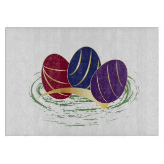 Ruby Sapphire Amethyst Easter on white Cutting Board