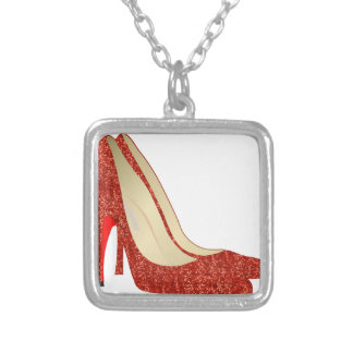 ruby slippers square pendant necklace
